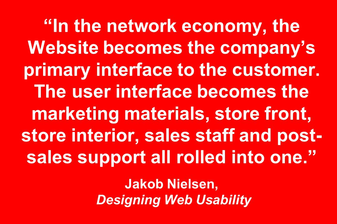 In the network economy, the Website becomes the company's primary interface to the customer.
