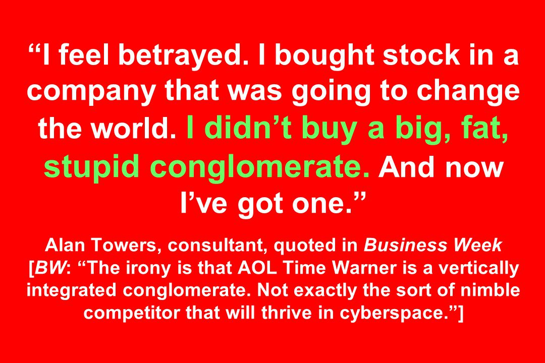 I feel betrayed. I bought stock in a company that was going to change the world.