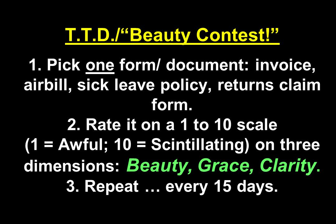 T.T.D./ Beauty Contest! 1.