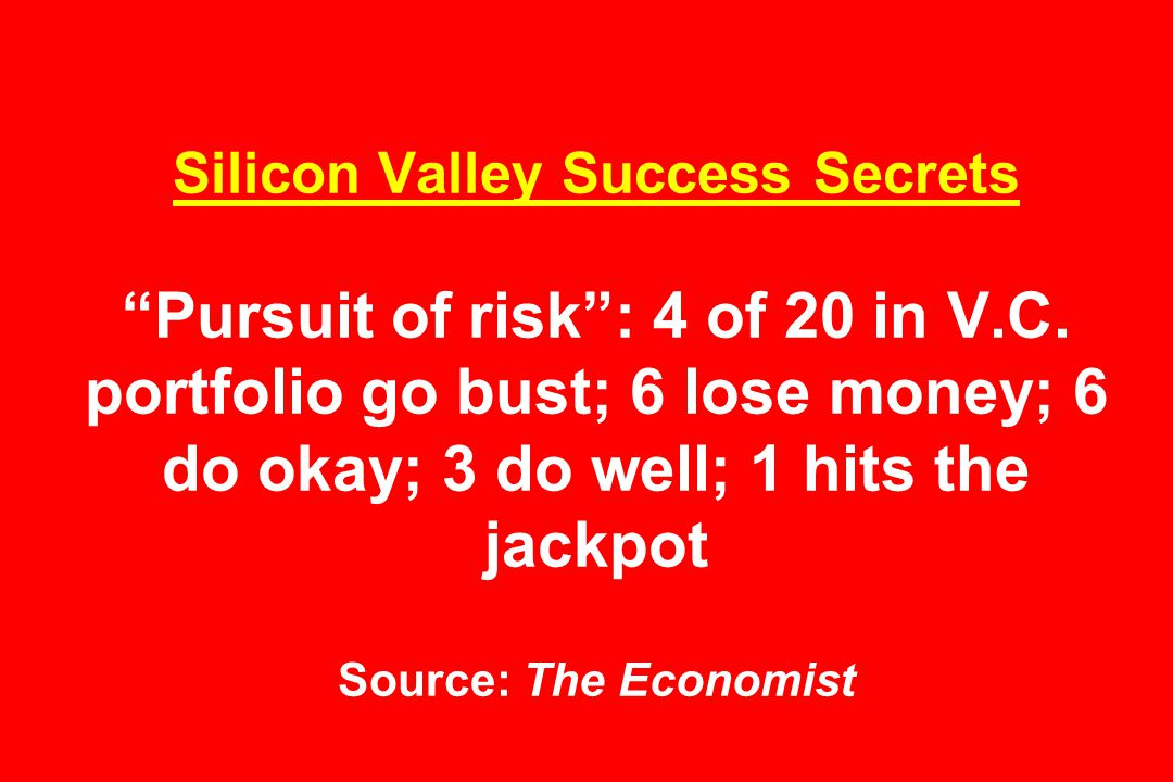 Silicon Valley Success Secrets Pursuit of risk : 4 of 20 in V.C.