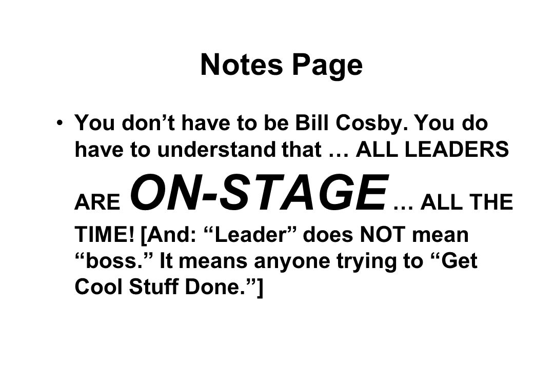 Notes Page You don't have to be Bill Cosby.