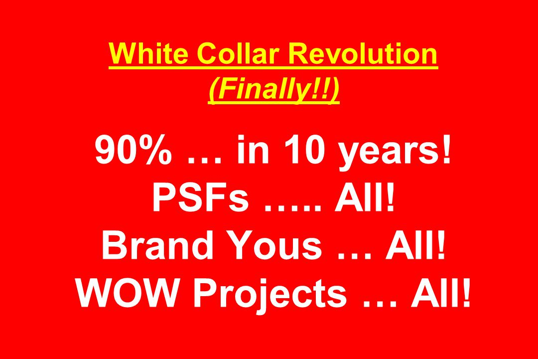 White Collar Revolution (Finally!!) 90% … in 10 years.