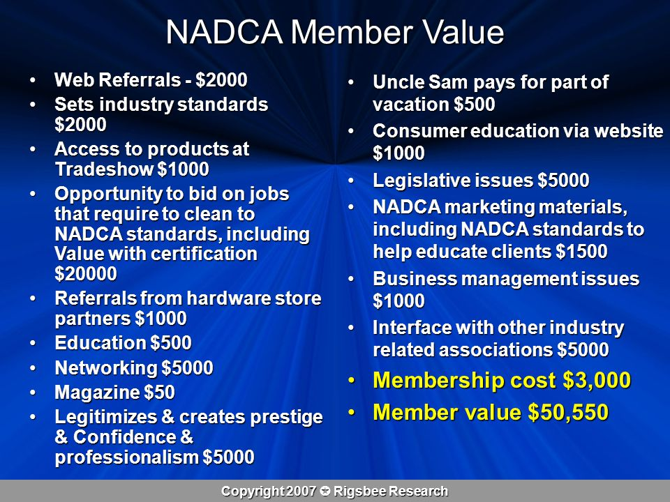 Copyright 2007  Rigsbee Research NADCA Member Value Web Referrals - $2000Web Referrals - $2000 Sets industry standards $2000Sets industry standards $2000 Access to products at Tradeshow $1000Access to products at Tradeshow $1000 Opportunity to bid on jobs that require to clean to NADCA standards, including Value with certification $20000Opportunity to bid on jobs that require to clean to NADCA standards, including Value with certification $20000 Referrals from hardware store partners $1000Referrals from hardware store partners $1000 Education $500Education $500 Networking $5000Networking $5000 Magazine $50Magazine $50 Legitimizes & creates prestige & Confidence & professionalism $5000Legitimizes & creates prestige & Confidence & professionalism $5000 Uncle Sam pays for part of vacation $500Uncle Sam pays for part of vacation $500 Consumer education via website $1000Consumer education via website $1000 Legislative issues $5000Legislative issues $5000 NADCA marketing materials, including NADCA standards to help educate clients $1500NADCA marketing materials, including NADCA standards to help educate clients $1500 Business management issues $1000Business management issues $1000 Interface with other industry related associations $5000Interface with other industry related associations $5000 Membership cost $3,000Membership cost $3,000 Member value $50,550Member value $50,550