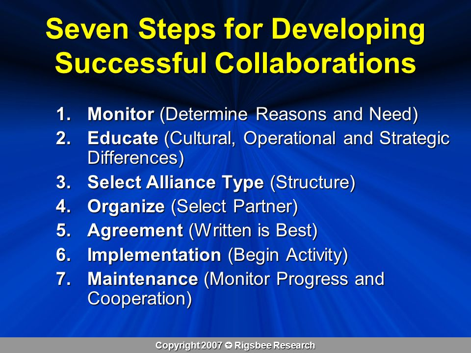 Copyright 2007  Rigsbee Research Seven Steps for Developing Successful Collaborations 1.Monitor (Determine Reasons and Need) 2.Educate (Cultural, Operational and Strategic Differences) 3.Select Alliance Type (Structure) 4.Organize (Select Partner) 5.Agreement (Written is Best) 6.Implementation (Begin Activity) 7.Maintenance (Monitor Progress and Cooperation)