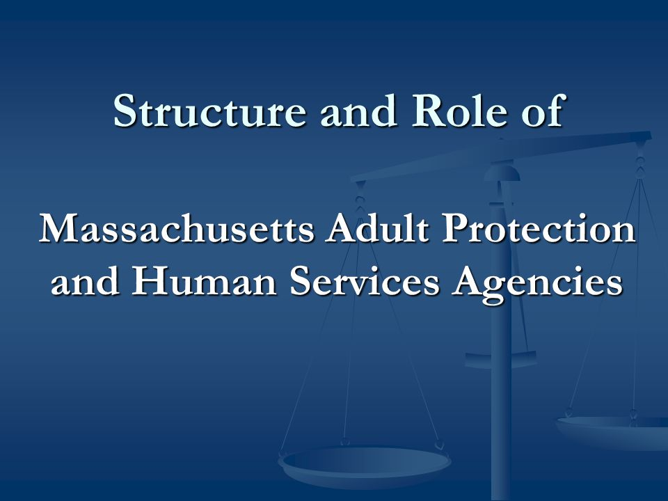Structure and Role of Massachusetts Adult Protection and Human Services Agencies Structure and Role of Massachusetts Adult Protection and Human Services Agencies