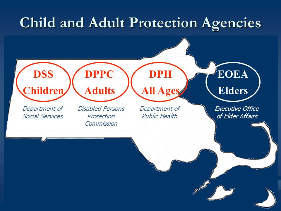 DSS Children DPPC Adults EOEA Elders DPH All Ages Child and Adult Protection Agencies Department of Social Services Disabled Persons Protection Commission Department of Public Health Executive Office of Elder Affairs