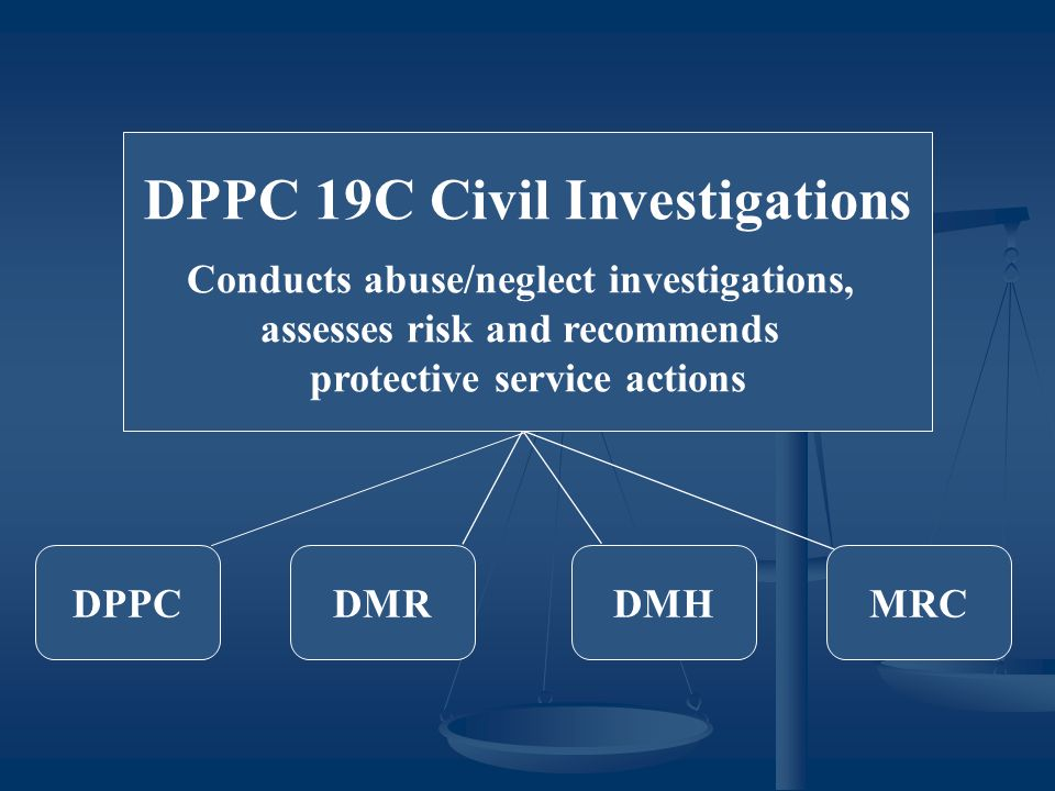 DPPC 19C Civil Investigations Conducts abuse/neglect investigations, assesses risk and recommends protective service actions DPPCDMHDMRMRC