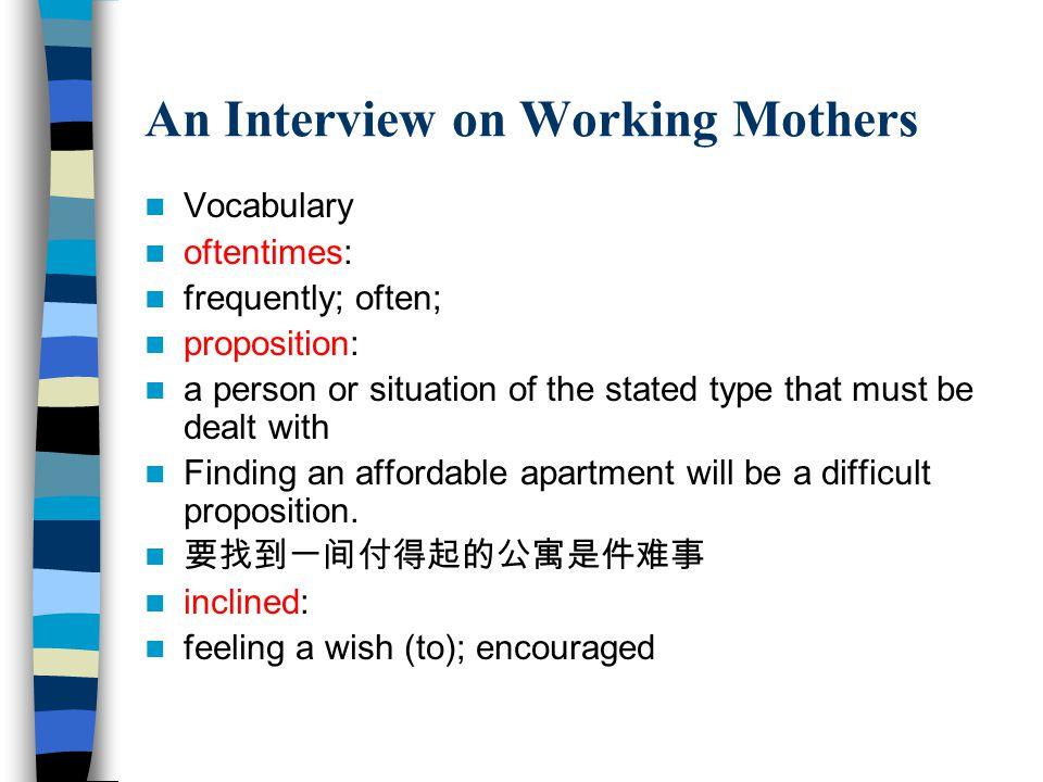 Part II Working Mother