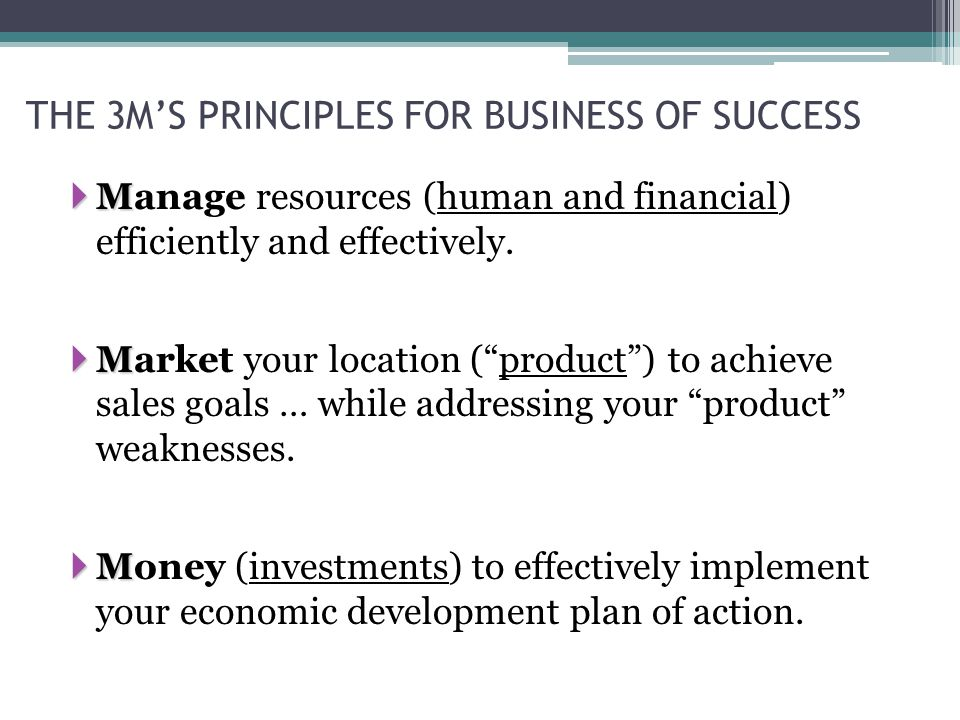THE 3M'S PRINCIPLES FOR BUSINESS OF SUCCESS  M  Manage resources (human and financial) efficiently and effectively.
