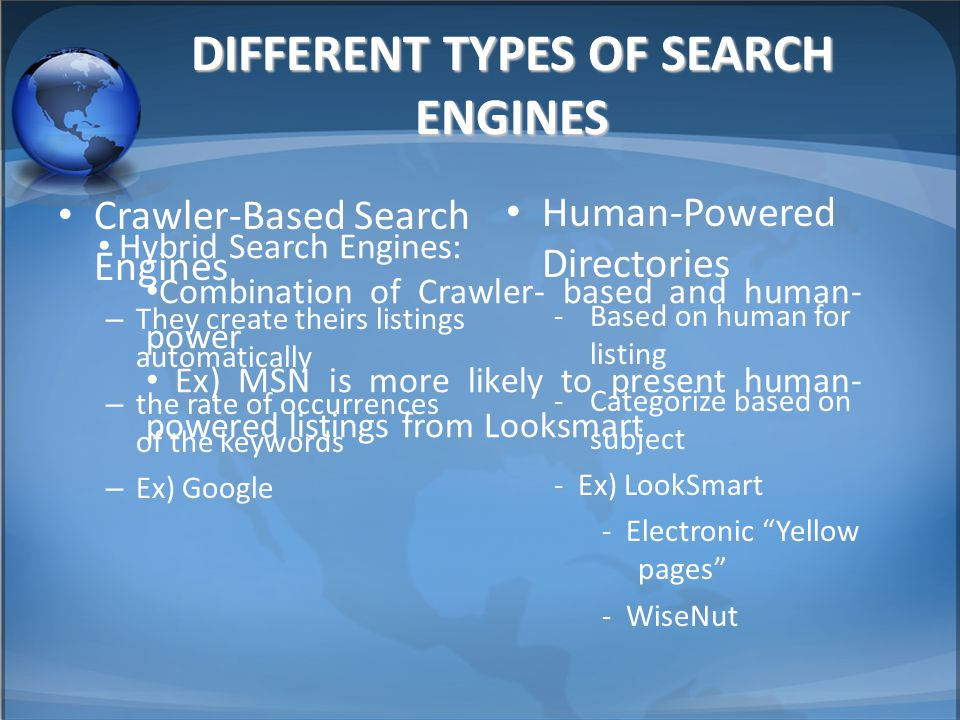 DIFFERENT TYPES OF SEARCH ENGINES Crawler-Based Search Engines –T–They create theirs listings automatically –t–the rate of occurrences of the keywords –E–Ex) Google Human-Powered Directories -Based on human for listing -Categorize based on subject - Ex) LookSmart - Electronic Yellow pages - WiseNut Hybrid Search Engines: Combination of Crawler- based and human- power Ex) MSN is more likely to present human- powered listings from Looksmart