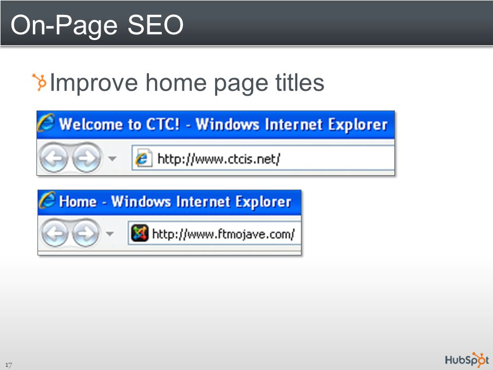 On-Page SEO Improve home page titles 17