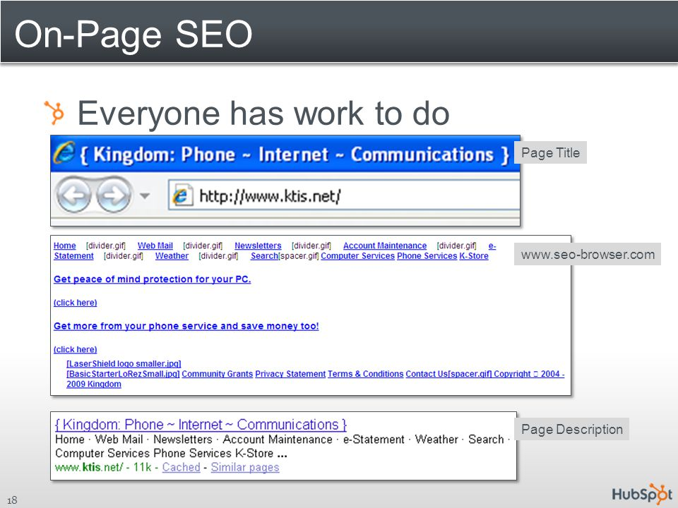 On-Page SEO Everyone has work to do 18 www.seo-browser.com Page TitlePage Description