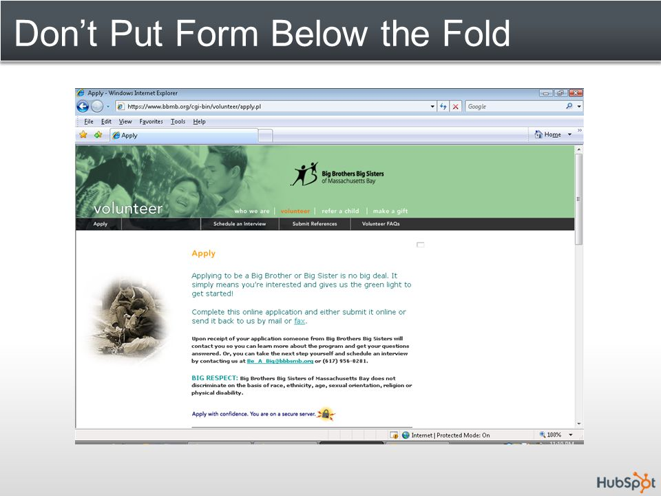 Don't Put Form Below the Fold