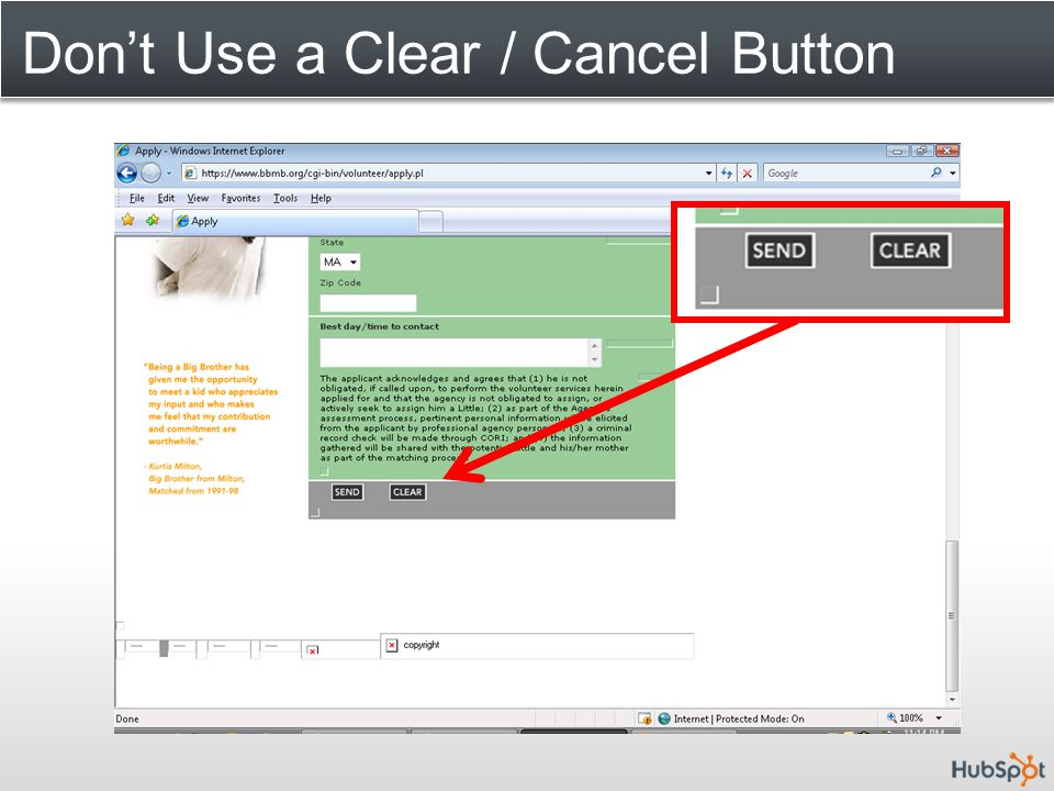 Don't Use a Clear / Cancel Button