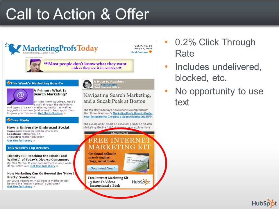 Call to Action & Offer 0.2% Click Through Rate Includes undelivered, blocked, etc. No opportunity to use text