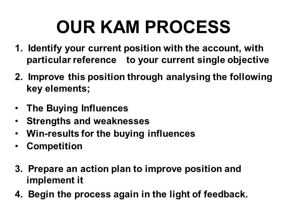 OUR KAM PROCESS 1. Identify your current position with the account, with particular reference to your current single objective 2. Improve this positio
