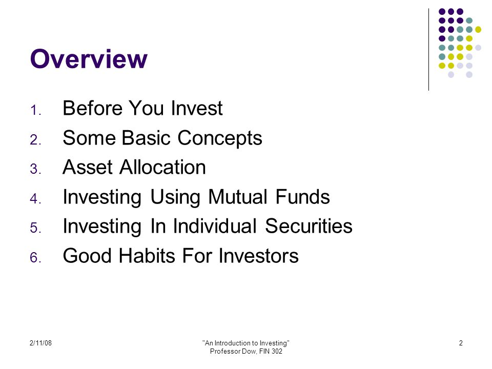 2/11/08 An Introduction to Investing Professor Dow, FIN 302 23 What is the right mix of assets.