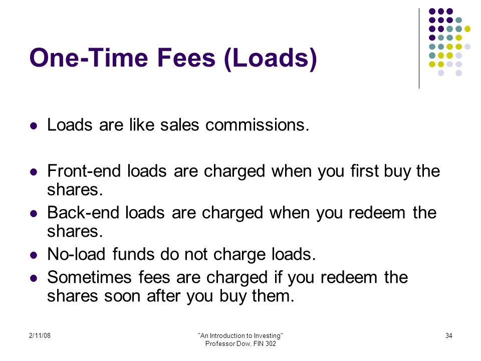 2/11/08 An Introduction to Investing Professor Dow, FIN 302 34 One-Time Fees (Loads) Loads are like sales commissions.