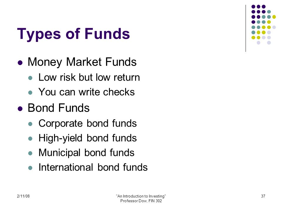 2/11/08 An Introduction to Investing Professor Dow, FIN 302 37 Types of Funds Money Market Funds Low risk but low return You can write checks Bond Funds Corporate bond funds High-yield bond funds Municipal bond funds International bond funds