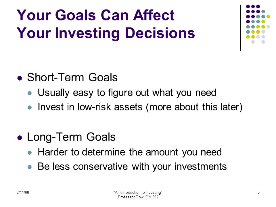 2/11/08 An Introduction to Investing Professor Dow, FIN 302 46 More Good Habits Avoid unnecessary taxes Avoid excessive fees Take a long-run approach Keep trading to a minimum Don't obsess about the short-run fluctuations of the market.