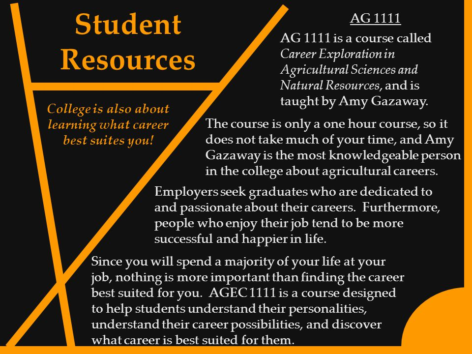 8 AG 1111 AG 1111 is a course called Career Exploration in Agricultural Sciences and Natural Resources, and is taught by Amy Gazaway.