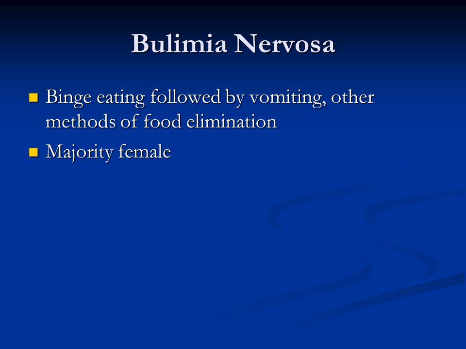 Bulimia Nervosa Binge eating followed by vomiting, other methods of food elimination Binge eating followed by vomiting, other methods of food elimination Majority female Majority female