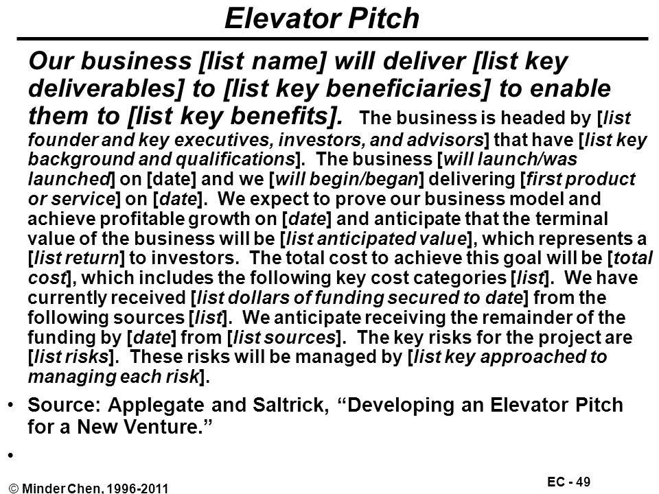 EC - 49 © Minder Chen, 1996-2011 Elevator Pitch Our business [list name] will deliver [list key deliverables] to [list key beneficiaries] to enable them to [list key benefits].