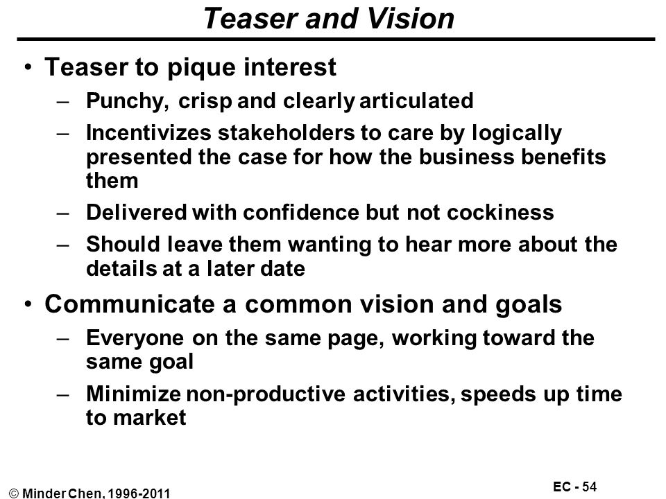 EC - 54 © Minder Chen, 1996-2011 Teaser and Vision Teaser to pique interest –Punchy, crisp and clearly articulated –Incentivizes stakeholders to care by logically presented the case for how the business benefits them –Delivered with confidence but not cockiness –Should leave them wanting to hear more about the details at a later date Communicate a common vision and goals –Everyone on the same page, working toward the same goal –Minimize non-productive activities, speeds up time to market