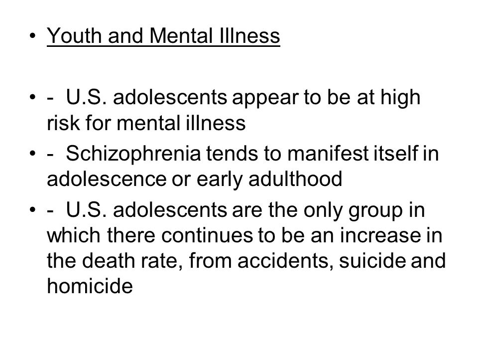 Youth and Mental Illness - U.S.