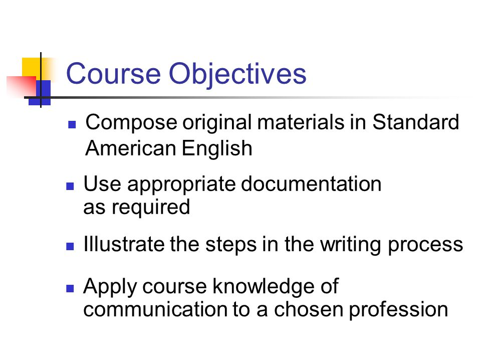 Course Objectives Compose original materials in Standard American English Use appropriate documentation as required Illustrate the steps in the writin