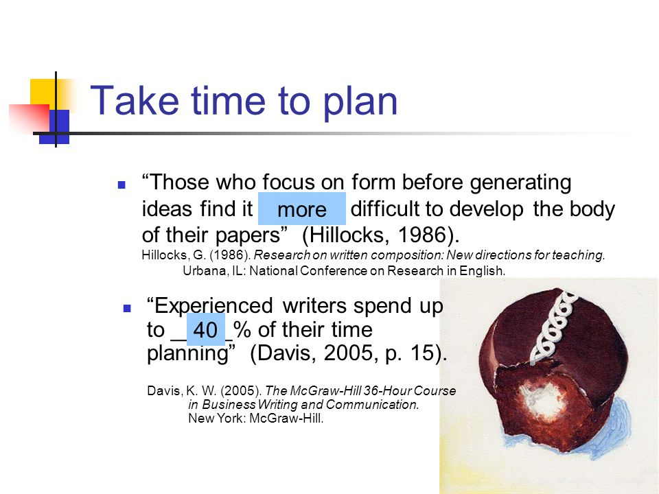 Take time to plan Those who focus on form before generating ideas find it _______ difficult to develop the body of their papers (Hillocks, 1986).