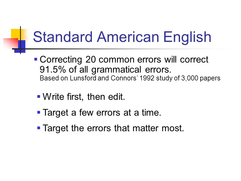 Standard American English  Correcting 20 common errors will correct 91.5% of all grammatical errors.
