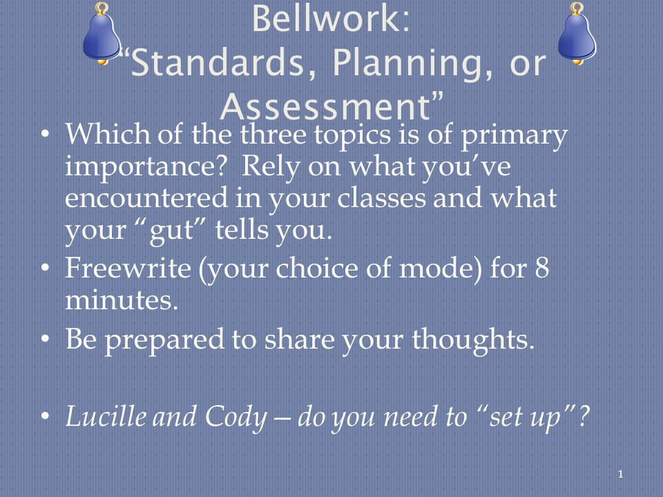 Bellwork: Standards, Planning, or Assessment Which of the three topics is of primary importance.