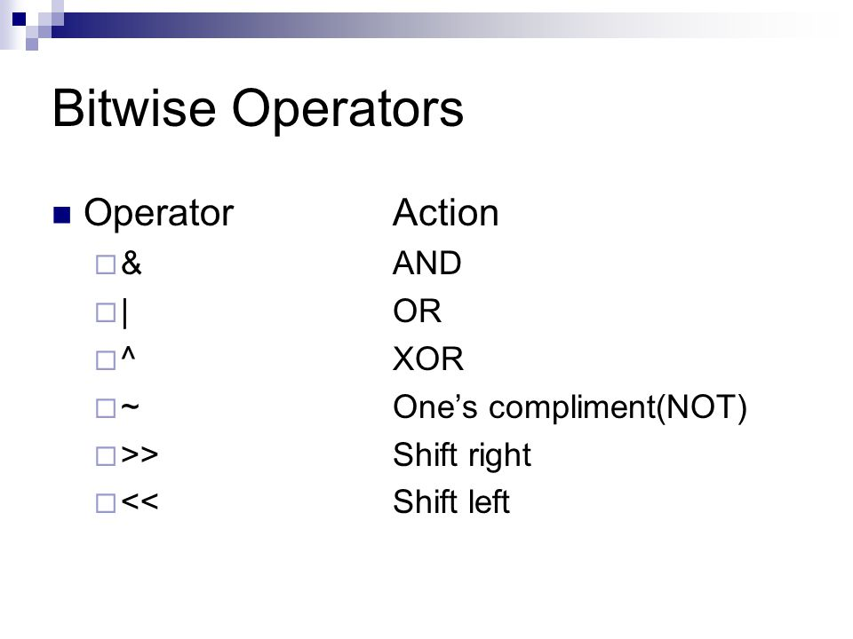 Bitwise Operators OperatorAction  &AND  |OR  ^XOR  ~One's compliment(NOT)  >>Shift right  << Shift left