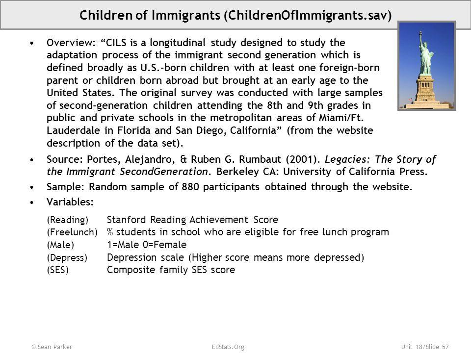 Unit 18/Slide 57 © Sean Parker EdStats.Org Children of Immigrants (ChildrenOfImmigrants.sav) Source: Portes, Alejandro, & Ruben G.