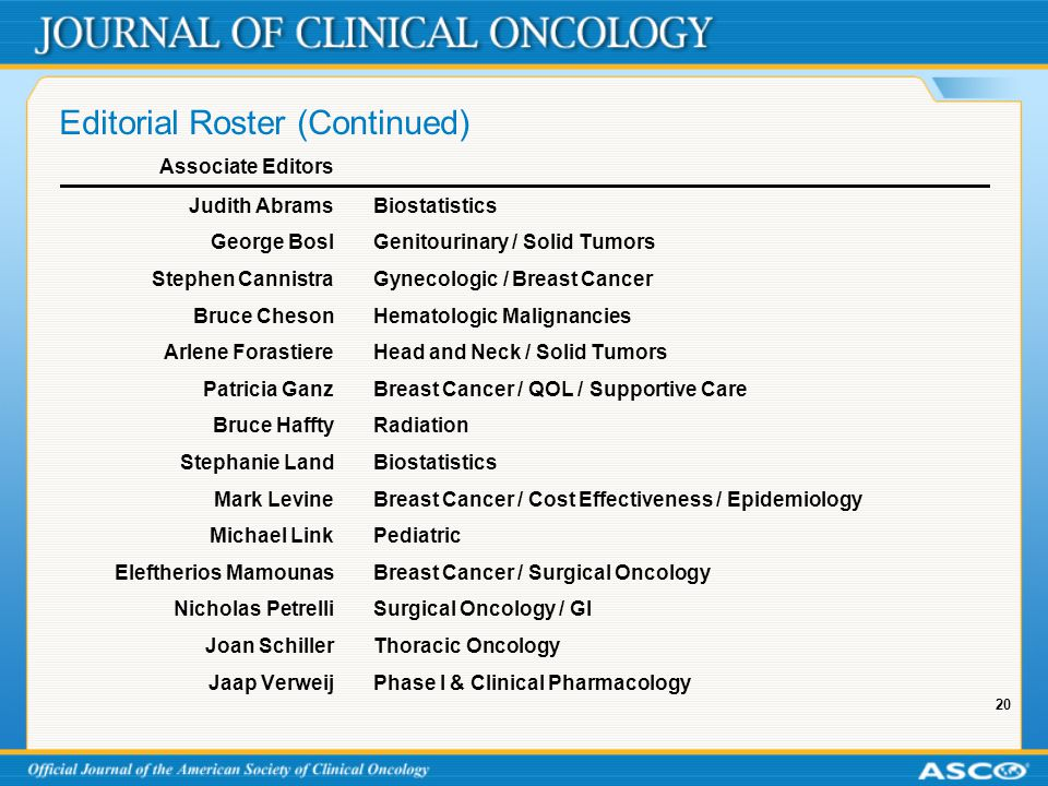 20 Editorial Roster (Continued) Associate Editors Judith AbramsBiostatistics George BoslGenitourinary / Solid Tumors Stephen CannistraGynecologic / Breast Cancer Bruce ChesonHematologic Malignancies Arlene ForastiereHead and Neck / Solid Tumors Patricia GanzBreast Cancer / QOL / Supportive Care Bruce HafftyRadiation Stephanie LandBiostatistics Mark LevineBreast Cancer / Cost Effectiveness / Epidemiology Michael LinkPediatric Eleftherios MamounasBreast Cancer / Surgical Oncology Nicholas PetrelliSurgical Oncology / GI Joan SchillerThoracic Oncology Jaap VerweijPhase I & Clinical Pharmacology