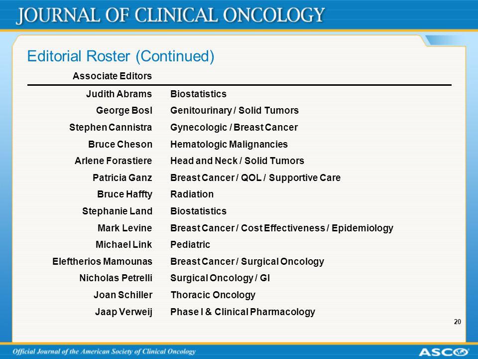 20 Editorial Roster (Continued) Associate Editors Judith AbramsBiostatistics George BoslGenitourinary / Solid Tumors Stephen CannistraGynecologic / Br