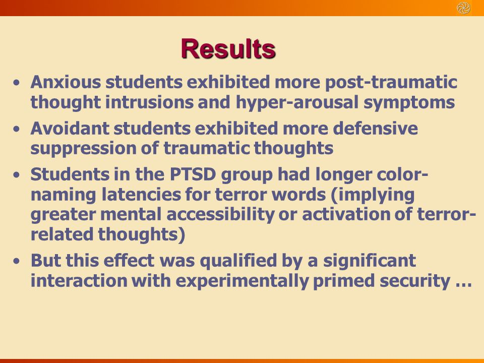 Results Anxious students exhibited more post-traumatic thought intrusions and hyper-arousal symptoms Avoidant students exhibited more defensive suppre