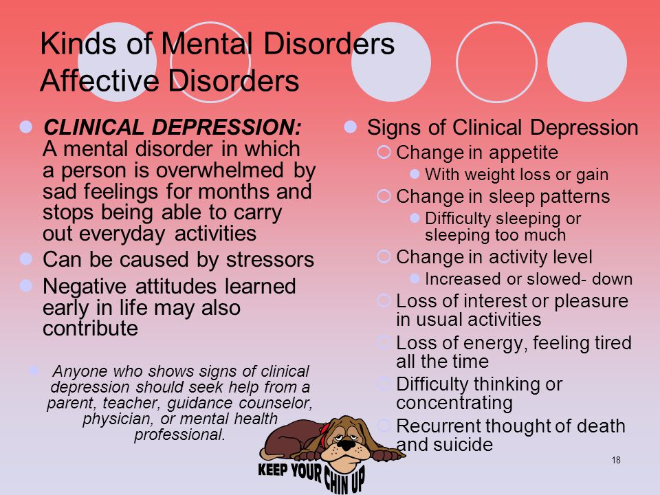 18 Kinds of Mental Disorders Affective Disorders CLINICAL DEPRESSION: A mental disorder in which a person is overwhelmed by sad feelings for months an