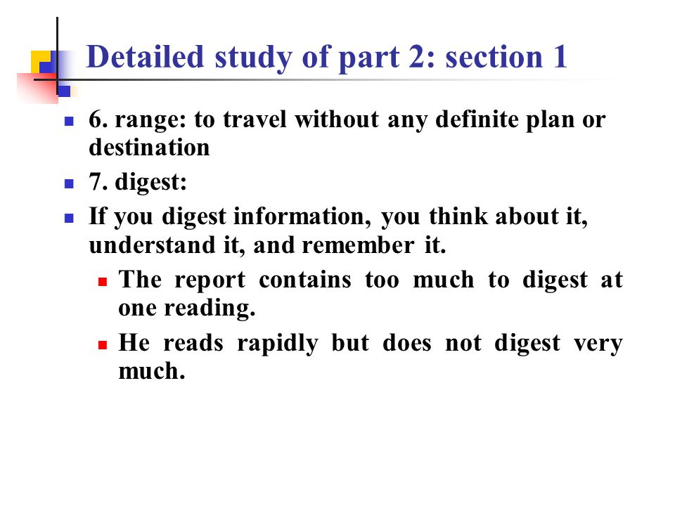 Detailed study of part 2: section 1 3.