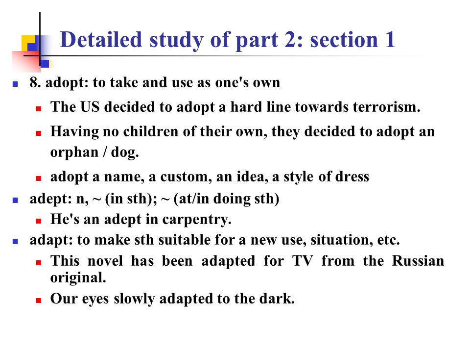 Detailed study of part 2: section 1 6. range: to travel without any definite plan or destination 7.