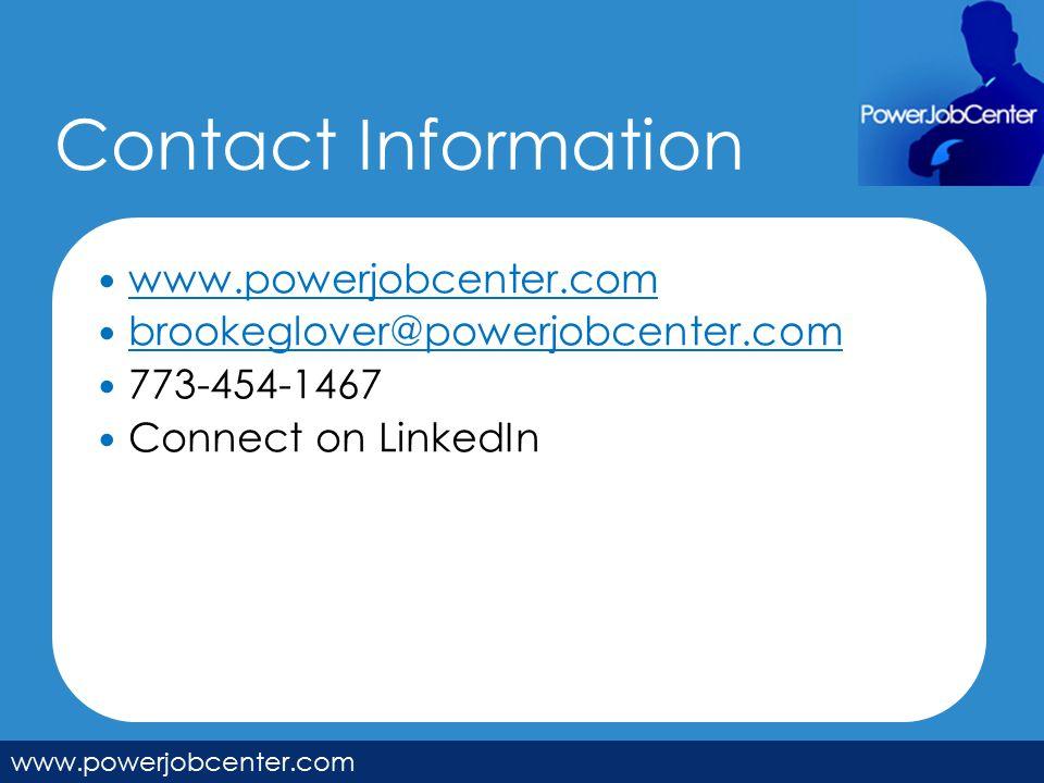 Contact Information www.powerjobcenter.com brookeglover@powerjobcenter.com 773-454-1467 Connect on LinkedIn