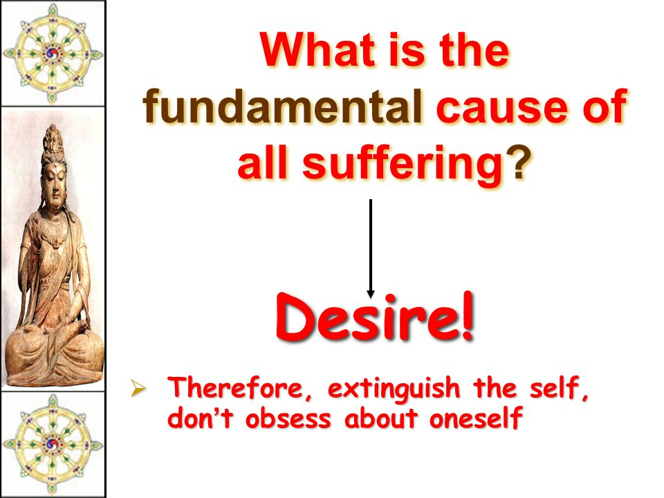 What is the fundamental cause of all suffering.Desire.