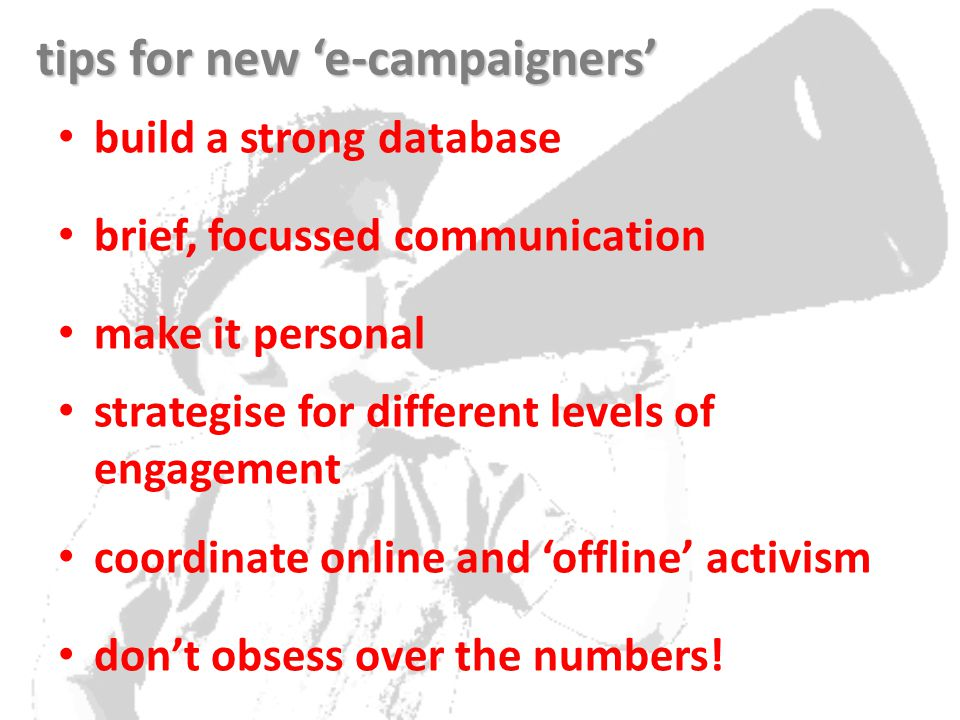 build a strong database brief, focussed communication make it personal strategise for different levels of engagement coordinate online and 'offline' activism don't obsess over the numbers.