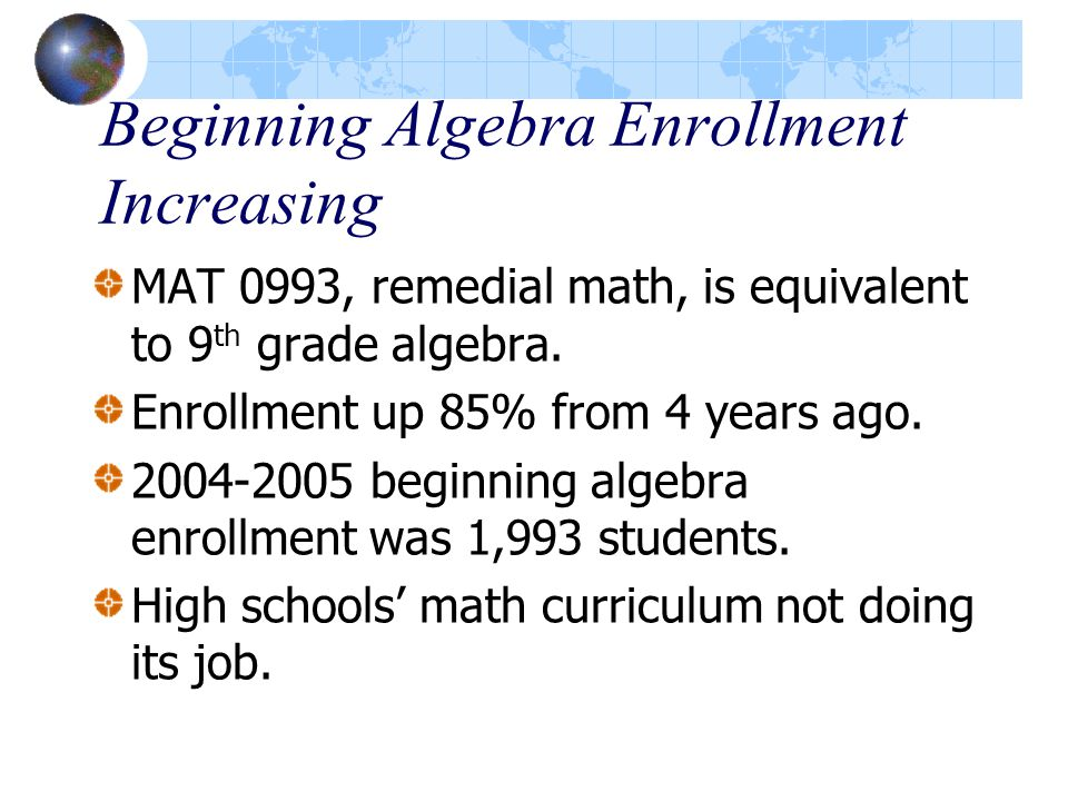 Beginning Algebra Enrollment Increasing MAT 0993, remedial math, is equivalent to 9 th grade algebra.