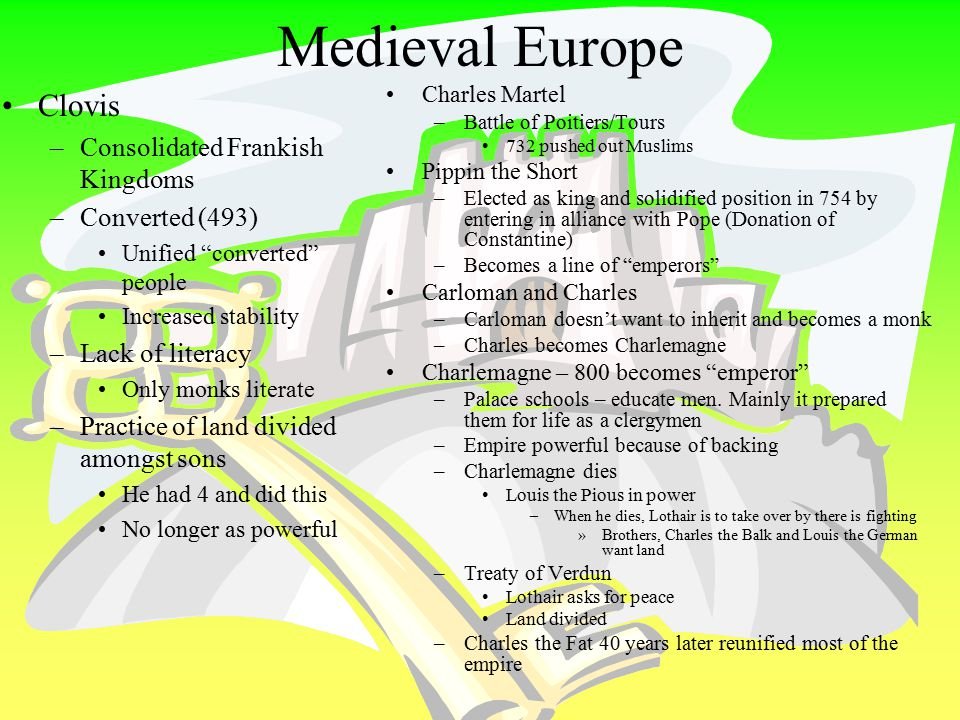 "Merovingian and Carolingian Family Tree Merovingians – Clovis Carolingians Charles Martel (""the Hammer"") –Pippin the Short Carloman Charles the Great"