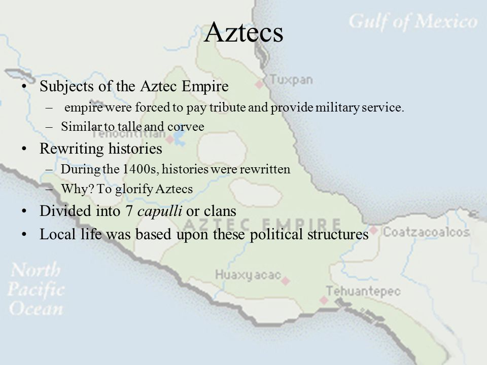 The Aztec Empire Toltec collapse and Aztec emergence –Following the collapse of the Toltec Empire around year 1150, the power center of Mexican civili