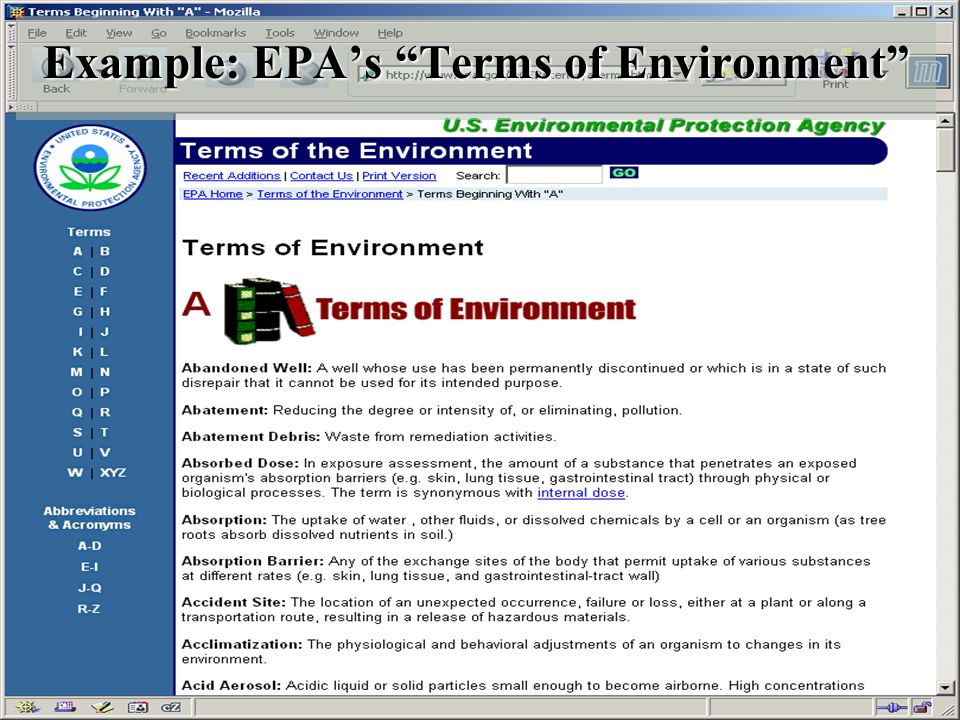 UMBC an Honors University in Maryland 11 Example: EPA's Terms of Environment