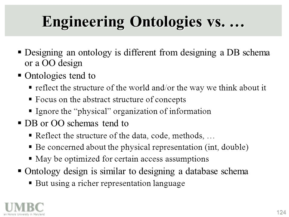 UMBC an Honors University in Maryland 124 Engineering Ontologies vs.