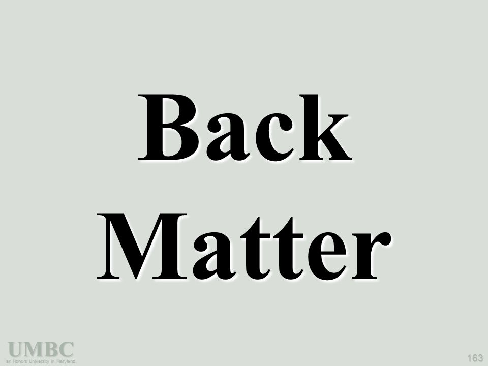 UMBC an Honors University in Maryland 163 Back Matter